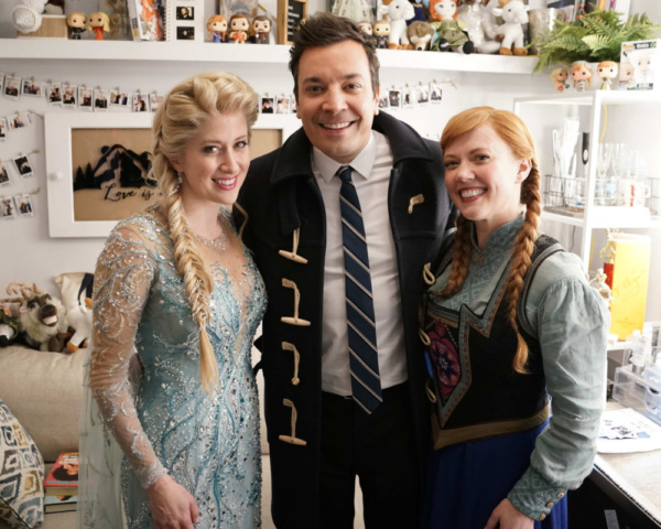 Caissie Levy, Patti Murin, and Jimmy Fallon